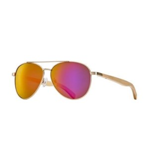 AMADOR - MATTE GOLD / NATURAL BEECHWOOD / PINK MIRROR POLARIZED LENS