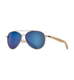 AMADOR - MATTE GOLD / NATURAL BEECHWOOD / ICE BLUE MIRROR POLARIZED LENS