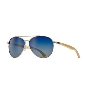 Amador Oceana - Matte Gold / Natural Beechwood / Gradient Blue Polarized