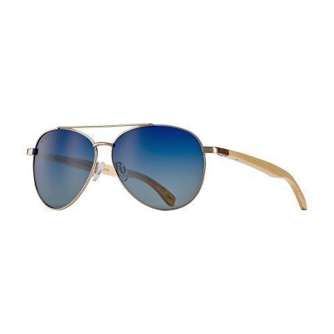 Amador Oceana - Matte Gold / Natural Beechwood / Gradient Blue Polarized
