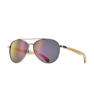 Amador Oceana - Matte Silver / Natural Beechwood / Rose with Silver Flash Mirror Polarized