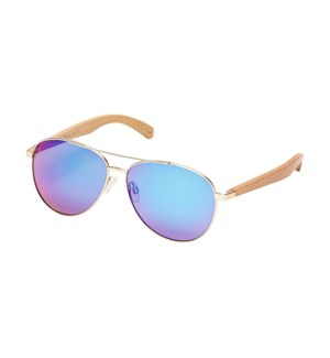 AMADOR - MATTE GOLD / NATURAL BEECHWOOD / GREEN MIRROR POLARIZED LENS