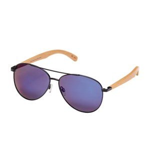Amador- Black / Natural Beechwood / Blue Mirror Polarized
