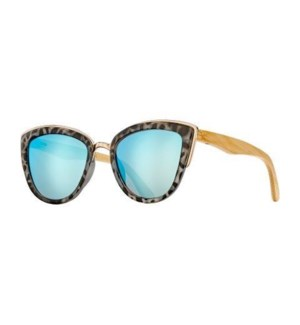 BAILEY - SNOW LEOPARD / SILVER / NATURAL BAMBOO / BLUE MIRROR LENS