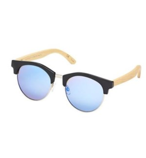Sawyer - Black / Silver / Natural Bamboo / Ice Blue Mirror Polarzied