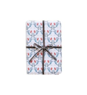 Rosemaling Wrapping Paper - Winter White