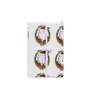 Santa Wreath Cameo Wrapping Paper