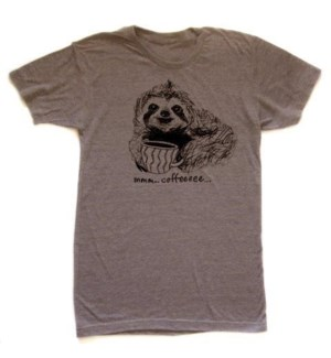 Coffee Sloth Brown T-shirt Unisex  S
