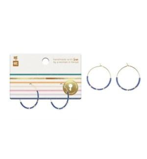 Beaded Hoop Earrings - Indigo