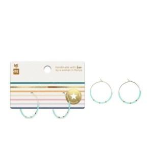 Beaded Hoop Earrings - Turquoise