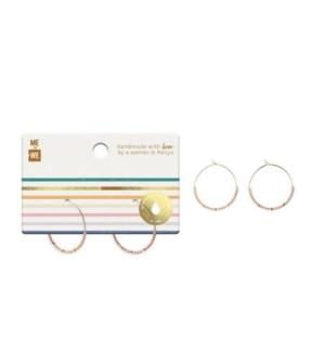 Beaded Hoop Earrings - Blush