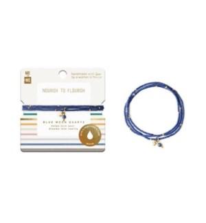 Semi-Precious Three-Wrap Bracelet - Blue Moon Quartz