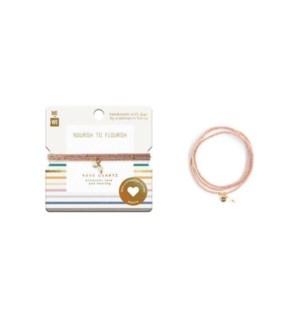 Semi-Precious Three-Wrap Bracelet - Rose Quartz