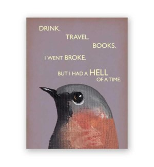 Drink. Travel. Books Card