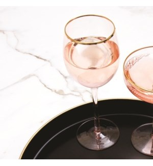 Stem Wine Glass Lt Pink
