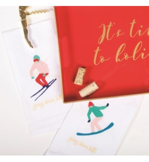 2Pc Bar Towel - Skier Print