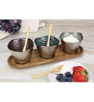 Let's Entertain Set-3 Glass Bowls/Tray w/Spoons