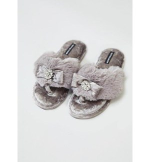 Toe Post With Bow Embellishment Mink