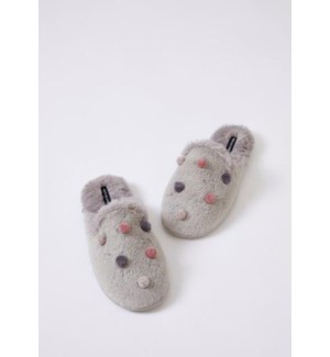 Faux Fur Mule With Mini Pom Poms. Silver. Mixed Carton. Pack Ratio A