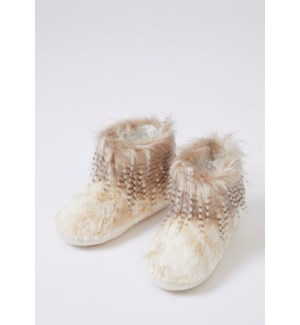 Faux Fur Bootie With Feather Affect On Cuff. Champagne. Mixed Carton. Pack Ratio A
