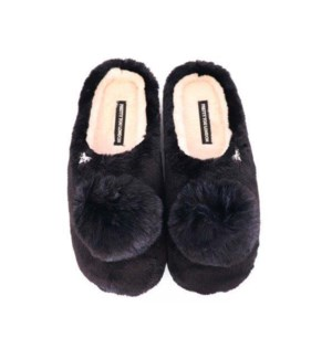Faux Fur Mule With Pom Pom. Black. Mixed Carton. Pack Ratio A