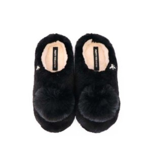 Faux Fur Mule With Pom Pom - Girls. Pack Ratio 2 Small 2 Med 2 Large. Black