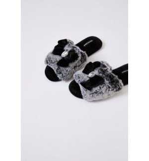 Faux Fur Slide With Embellishement. Black .Mixed Carton. Pack Ratio A