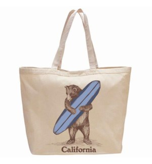 Surf Bear Beach Bag / Oversized Tote - 100% Cotton
