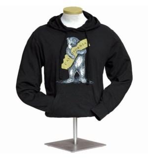CA Bear Hug Light Weight Jersey Hoodie - Black w/