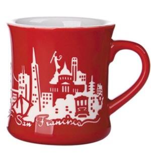Etched Diner Mug - Red, 12 oz stoneware