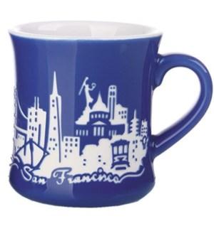Etched Diner Mug - Blue, 12 oz stoneware