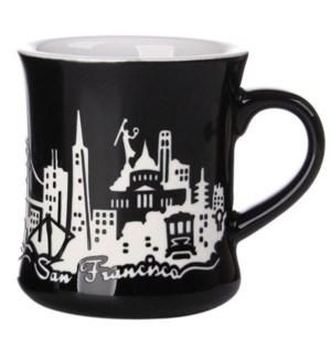 Etched Diner Mug - Black, 12 oz stoneware