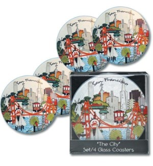 The City Boxed s/4 Round Glass Coasters - acetate box