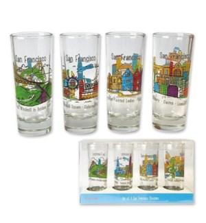 SF Whimsy Set of 4 Shot Glasses