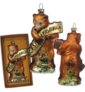 CA Bear Hug Glass Mold Ornament - Gift Boxed