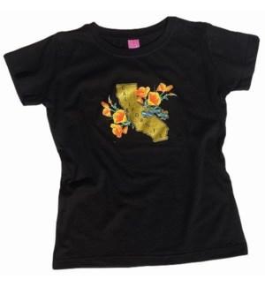 Golden State Poppy Women's Tee - 100 % Cotton, Bla