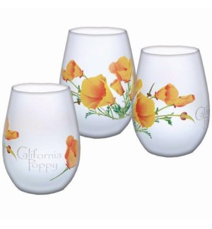 California Poppy Frosted Stemless Wine Glass