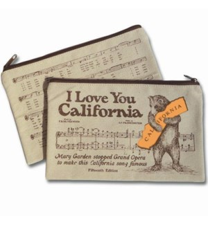 California Bear Hug Canvas Zipper Pouch