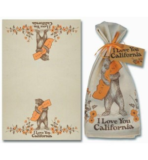 CA Bear & Poppy Tea Towel