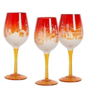 SF Sunrise Skyline 16 oz Etched Wine Glass - gift box