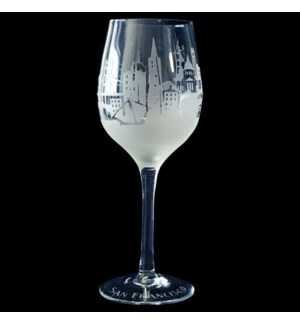 SF Skyline Clear & Frosted Wine Glass