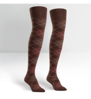 Women's Over the Knee: Brown/Gold Argyle