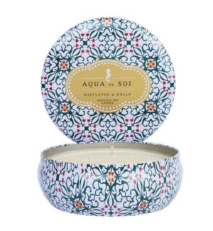 Aqua De SOi Mistletoe & Holly 3 Wick Tin