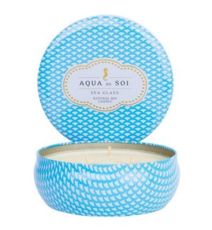 Aqua De SOi Sea glass 3 Wick Tin