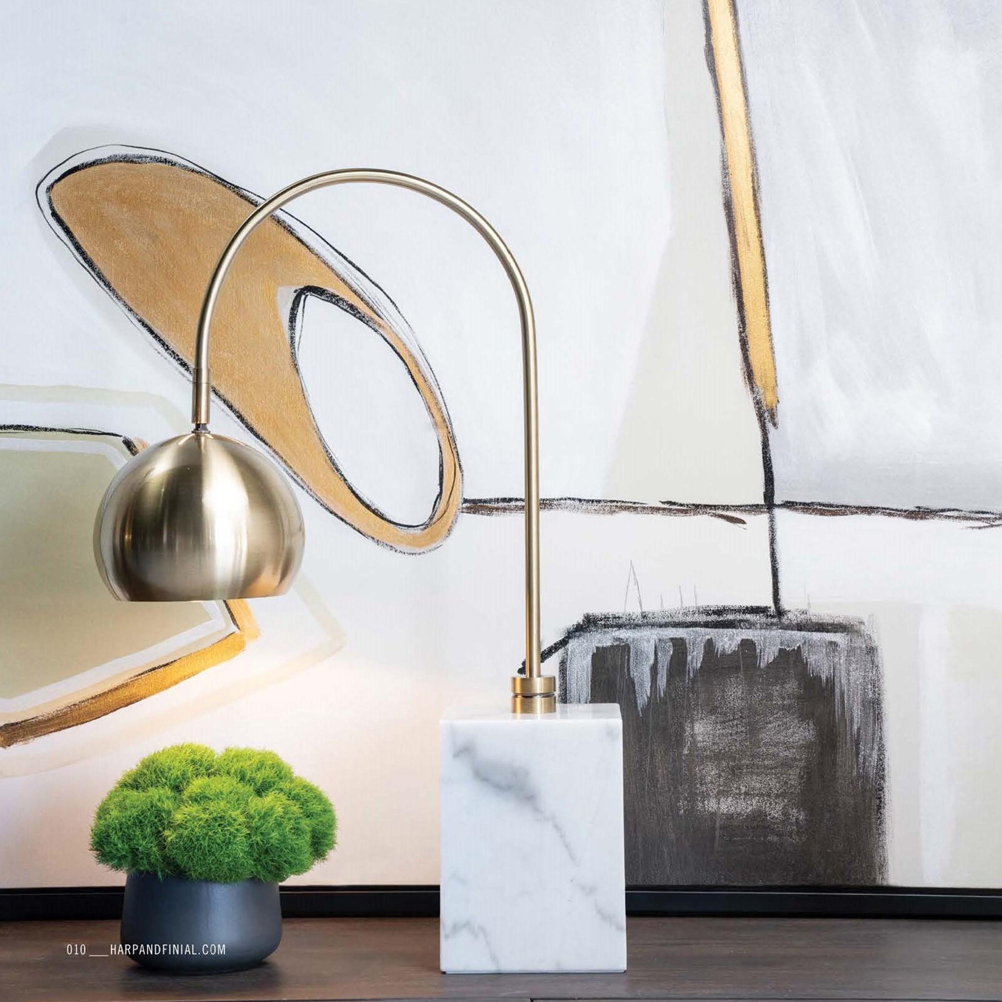 LA HART University of Mississippi Lamp in Brass /& Marble M