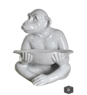 CHIMP TRAY STATUE | White Finish on Ceramic