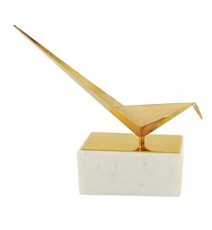 BIRD STATUE- I | Gold Finish on Metal Bird with Marble Stand