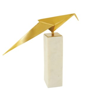 BIRD STATUE- II | Gold Finish on Metal Bird with Marble Stand