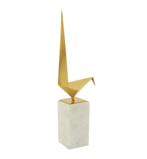 BIRD STATUE- III | Gold Finish on Metal Bird with Marble Stand