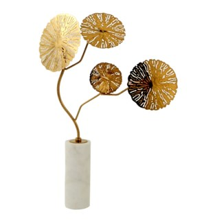 KOTE TREE STATUE- LARGE | Gold Finish on Metal with Marble Base